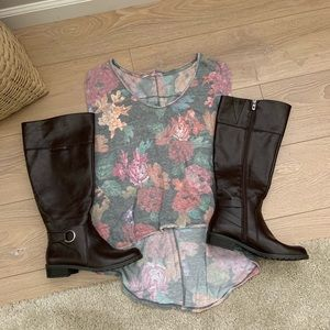 Alfani boots 👢 AND floral FP top!!